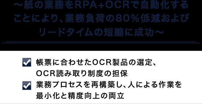 ~紙の業務をRPA+OCRで自動化することにより、業務負荷の80%低減およびリードタイムの短縮に成功~